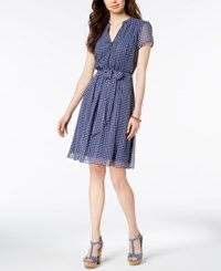 Msk Checkered Belted Dress Blue White