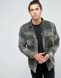 Brixton Checked Flannel Shirt In Regular Fit Grey