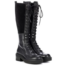 See By Chloe Leather And Suede Knee High Boots Black
