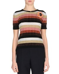 Fendi Metallic Striped Short Sleeve Sweater W Mink Fur Pin Silver