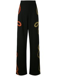 Reemami Embroidered Rope Palazzo Pants Women Cotton Xs Black