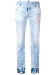 Dsquared2 Flare Embroidered Jeans Blue
