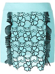 Emanuel Ungaro Flower Motif Short Skirt Blue