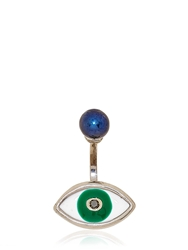 Delfina Delettrez Green Eye And Pearl Mono Earring Silver Green