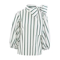 Red Valentino Striped Pussy Bow Shirt Verde