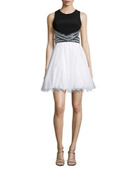 Blondie Nites Two Tone Sleeveless Embellished Backless Fit And Flare Dress Black White