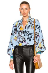 Tibi Gothic Floral Edwardian Top In Abstract Blue Floral Abstract Blue Floral
