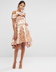Chi Chi London High Low Skirt Co Ord In Rose Gold Jacquard Rose Gold