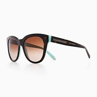 Tiffany And Co. Atlas Classic Sunglasses In Tortoise Blue Acetate. Plastic