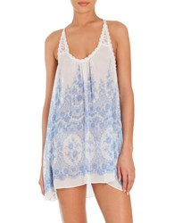 In Bloom Morning View Floral Lace Trimmed Chemise White