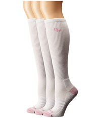 Old West Boots 3 Pack Over The Calf Socks White Pink Toe Women's Crew Cut Socks Shoes