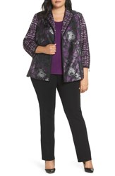 Ming Wang Plus Size Contrast Jacket Jelly Black Chai