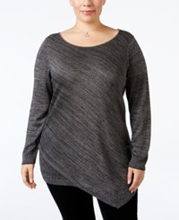 Love Scarlett Plus Size Metallic Asymmetrical Sweater Silver