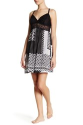 Josie Lace Trim Printed Dress Black