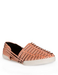 Elliott Lucca Rani Woven Leather Flats Apricot