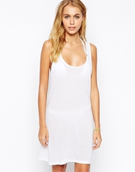 Liquorish Jersey Beach Dress With Tie Back Detail White