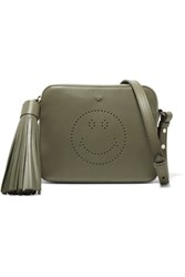 Anya Hindmarch Smiley Perforated Leather Shoulder Bag Army Green