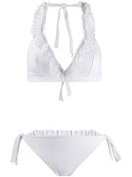 Fisico Ruffled Trim Bikini Set White