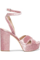Sam Edelman Mara Velvet Platform Sandals Antique Rose