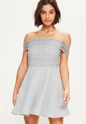 Missguided Grey Lace Double Strap Bardot Skater Dress