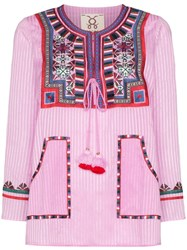 Figue Lily Embroidered Stripe Top Pink
