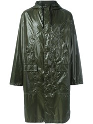 Msgm Logo Raincoat Green