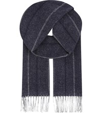 Aspinal Of London Herringbone Cashmere And Merino Wool Scarf Navy
