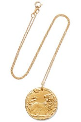Alighieri Il Leone Medallion Gold Plated Necklace One Size