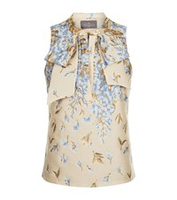 Lilly E Violetta Floral Bow Blouse Gold