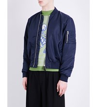 J.W.Anderson Zip Detail Satin Bomber Jacket Navy
