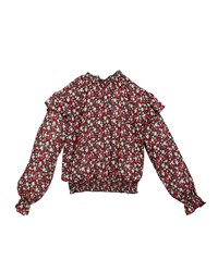 Mayoral Gauze Tiny Floral Print Smocked Blouse Red