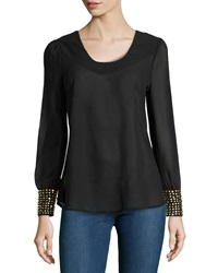 Romeo And Juliet Couture Long Sleeve Chiffon Blouse W Golden Detail Black
