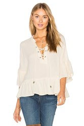 Maven West Lace Up Ruffle Top Beige