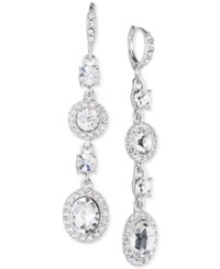 Givenchy Faceted Stone And Crystal Long Linear Drop Earrings Silver