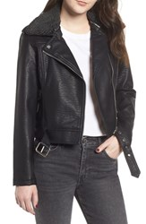 Obey Joey Faux Shearling Collar Faux Leather Moto Jacket Black