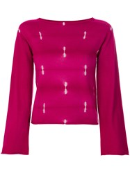 Suzusan Flared Sleeves Jumper Pink And Purple