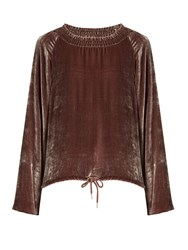 See By Chloe Smocked Neck Velvet Top Beige