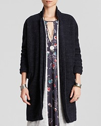 Free People Overcoat Solid Long And Lean Deep Navy