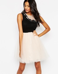 Little Mistress Prom Dress With Embellished Mesh Detail Nude