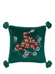 Gucci Snake Embroidered Velvet Pillow Green