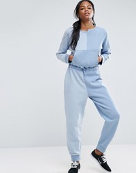 Asos Washed Deconstructed Sweat Jumpsuit Blue