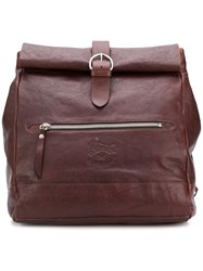 Il Bisonte Buckle Oversized Backpack Brown