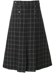 Mulberry Checked A Line Skirt Women Viscose Virgin Wool 44 Blue