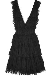 Alexander Mcqueen Ruffled Pointelle Knit Mini Dress Black