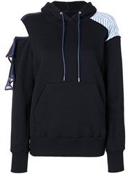 Sacai Deconstructed Cold Shoulder Hoodie Blue