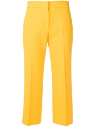 Msgm Cropped Pleated Trousers Yellow