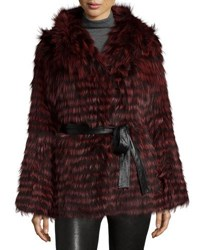 Gorski Belted Fox Fur Hooded Parka Coat Medium Red