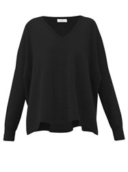 Allude V Neck Cashmere Sweater Black