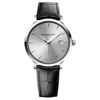 Raymond Weil 5484 Stc 65001 Men's Toccata Leather Strap Watch Black Silver