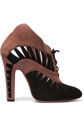 Alaia Cutout Suede Ankle Boots Brown